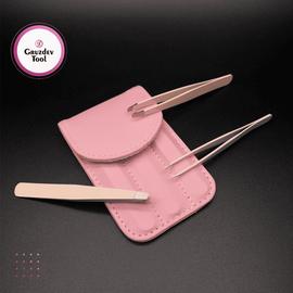 Мини-набор для бровей 3 пинцета. Розовый чехол 1  250
