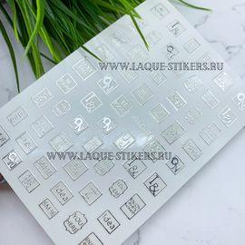3D эластичные металлические наклейки надписи в рамках серебро 1  80