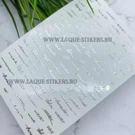 3D эластичные металлические наклейки тонкие изогнутые прописные надписи серебро 1  80